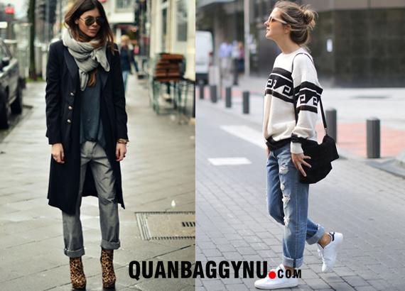 Một số cách TUYỆT VỜI mặc đẹp với quần baggy jean vào mùa Đông Noen