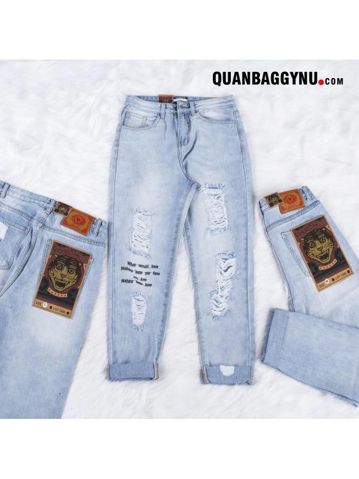 Quần baggy jean rách nữ in chữ cạp cao QBJ041