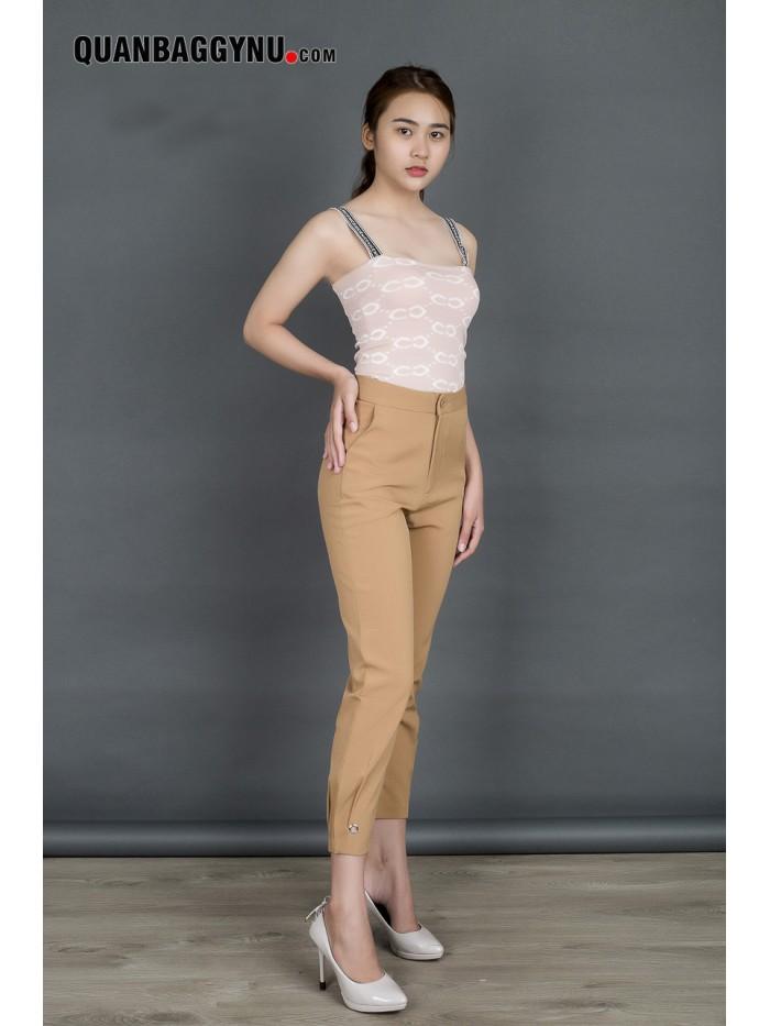 Quần vải nữ baggy cao cấp lai kiểu cạp cao QT130