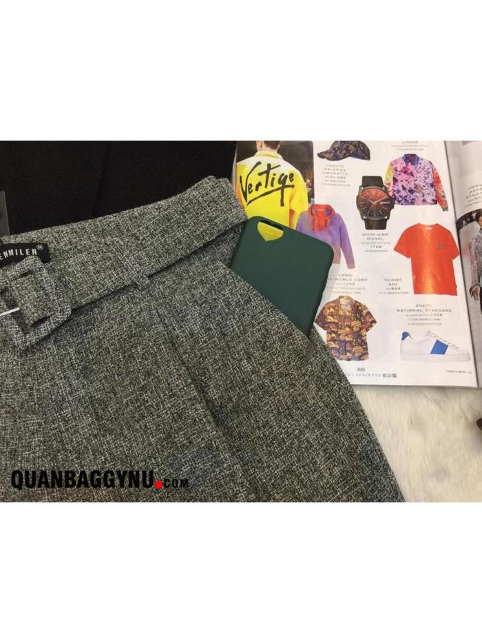 Quần tây baggy công sở vải thô basic đai rời QBV02