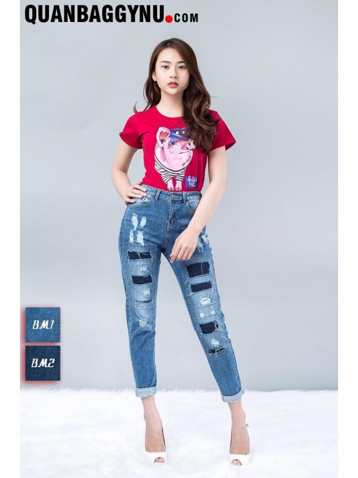 Quần Jean 9 Tấc Kiểu Baggy  Rách Vá Cạp Cao QBJ4