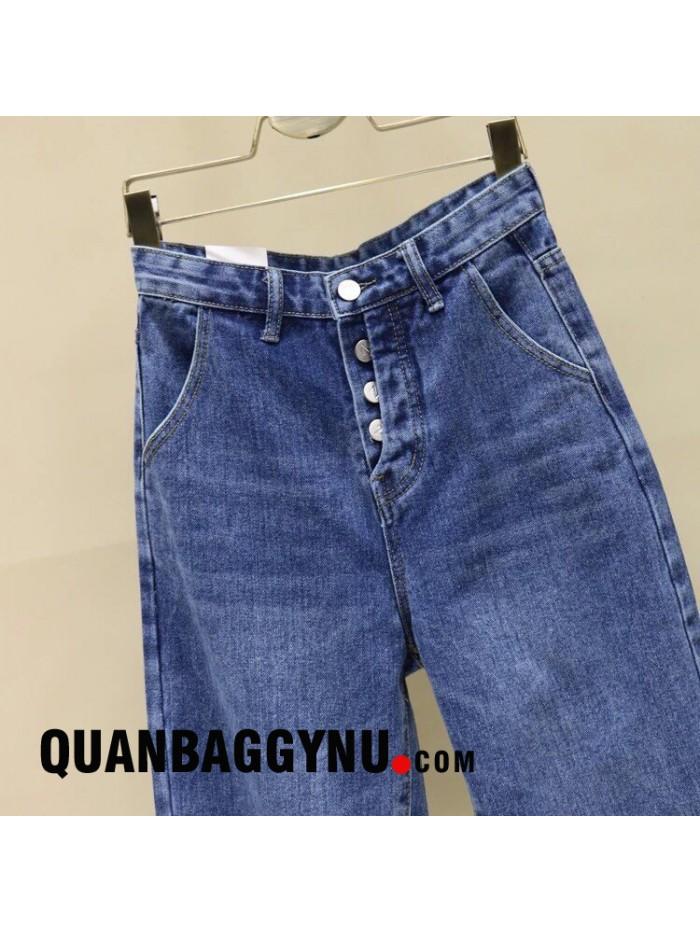 Quần jean nữ baggy cạp cao đóng nút cá tính QBJ042